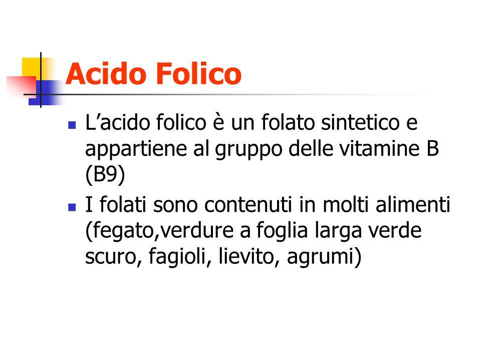 Acido Folico Lacido folico è un folato sintetico e appartiene al gruppo delle vitamine B (B9) I folati sono contenuti in molti alimenti (fegato,verdur