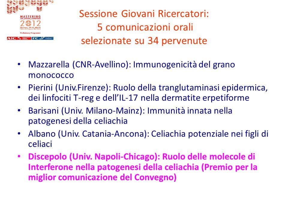 Sessione Giovani Ricercatori: 5 comunicazioni orali selezionate su 34 pervenute Mazzarella (CNR-Avellino): Immunogenicità del grano monococco Pierini