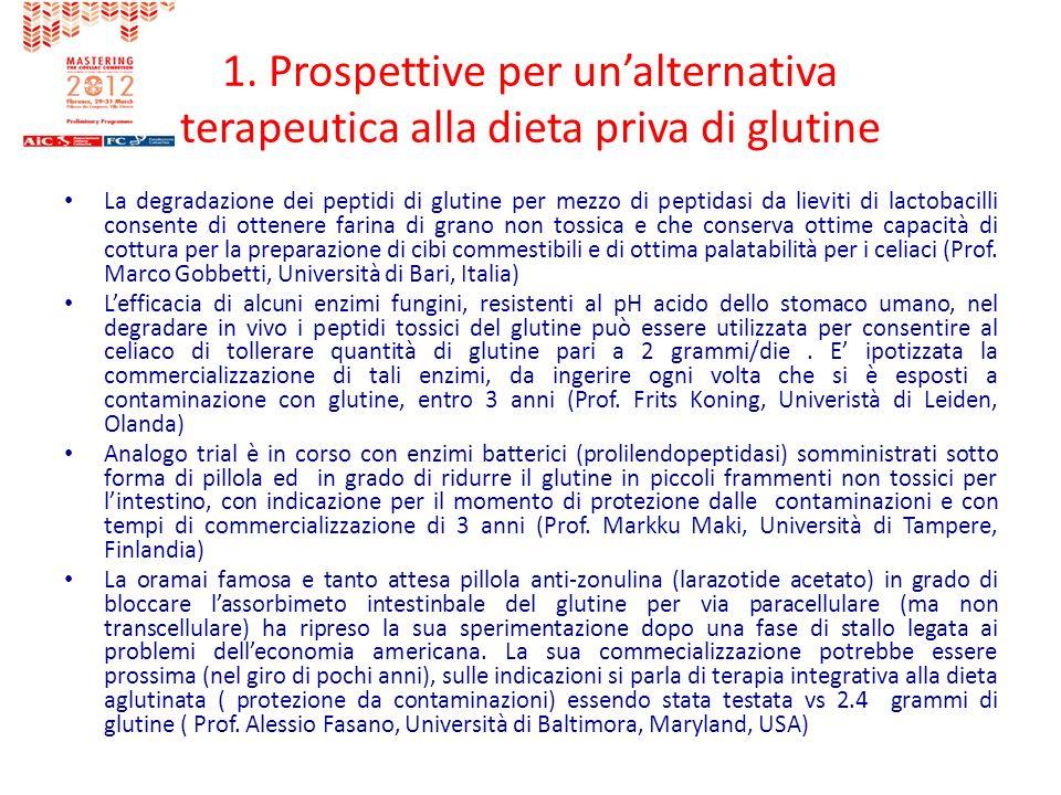 1. Prospettive per unalternativa terapeutica alla dieta priva di glutine La degradazione dei peptidi di glutine per mezzo di peptidasi da lieviti di l