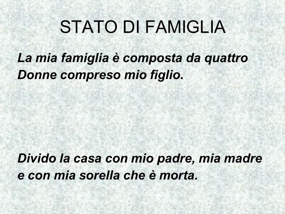 Stato di famiglia: Padre, madre, fratello inferiore.