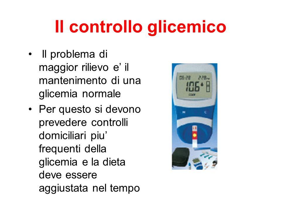 Il controllo glicemico Il problema di maggior rilievo e il mantenimento di una glicemia normale Per questo si devono prevedere controlli domiciliari p