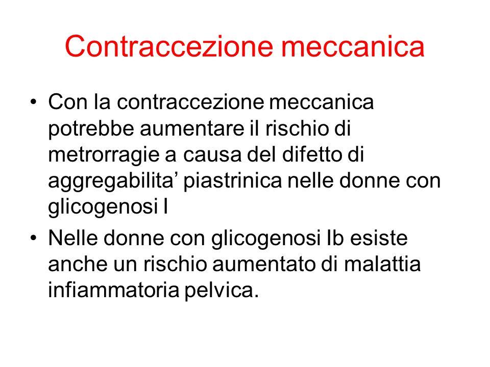 Contraccezione meccanica Con la contraccezione meccanica potrebbe aumentare il rischio di metrorragie a causa del difetto di aggregabilita piastrinica