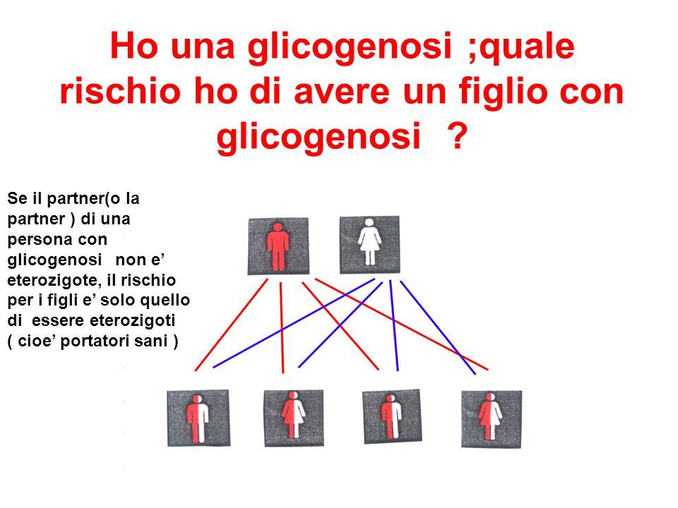 Ho una glicogenosi ;quale rischio ho di avere un figlio con glicogenosi ? Se il partner(o la partner ) di una persona con glicogenosi non e eterozigot
