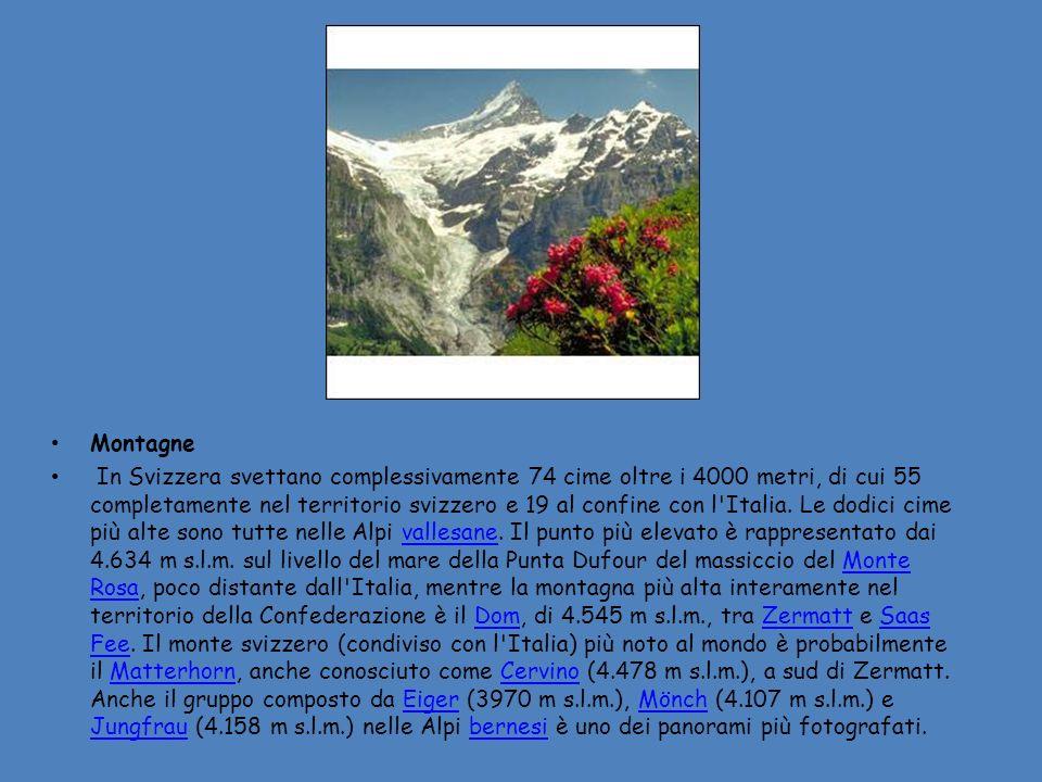 Fiumi I maggiori fiumi svizzeri, tra cui i grandi fiumi europei Reno e Rodano nascono dal massiccio del San Gottardo, che dà alla luce anche il Ticino che scorre verso sud, e la Reuss, che forma a nord il Lago dei Quattro Cantoni.