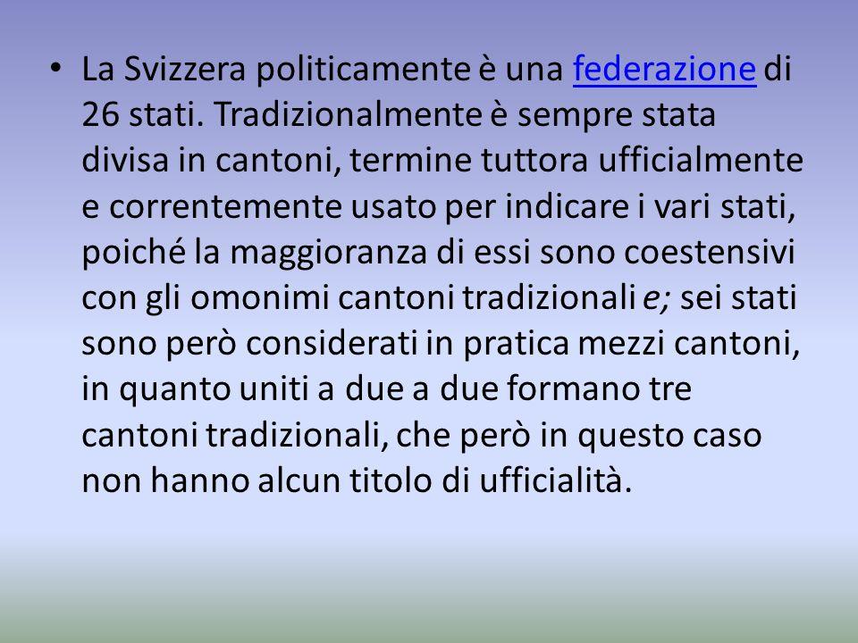 La Svizzera politicamente è una federazione di 26 stati. Tradizionalmente è sempre stata divisa in cantoni, termine tuttora ufficialmente e correnteme