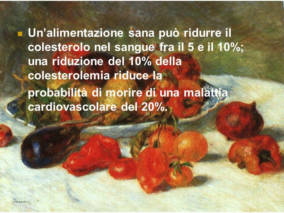 Unalimentazione sana può ridurre il colesterolo nel sangue fra il 5 e il 10%; una riduzione del 10% della colesterolemia riduce la probabilità di morire di una malattia cardiovascolare del 20%.