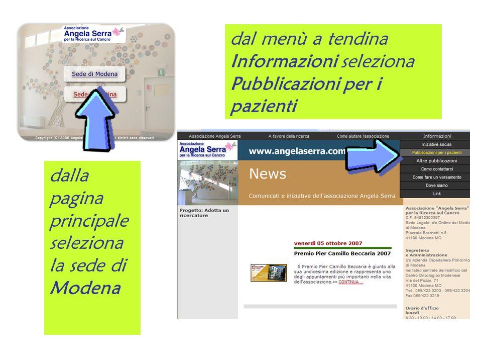 dalla pagina principale seleziona la sede di Modena dal menù a tendina Informazioni seleziona Pubblicazioni per i pazienti