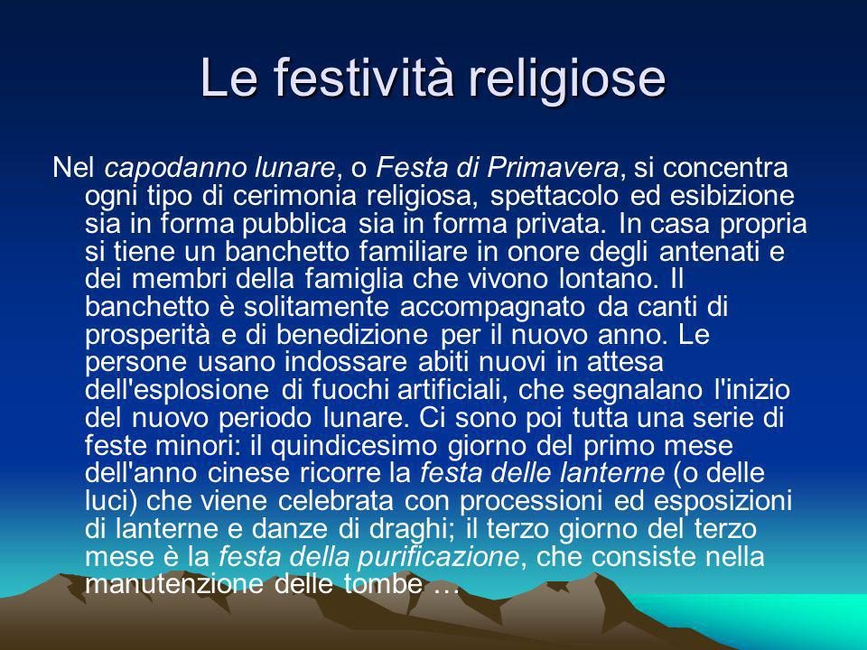 Le festività religiose Nel capodanno lunare, o Festa di Primavera, si concentra ogni tipo di cerimonia religiosa, spettacolo ed esibizione sia in forma pubblica sia in forma privata.