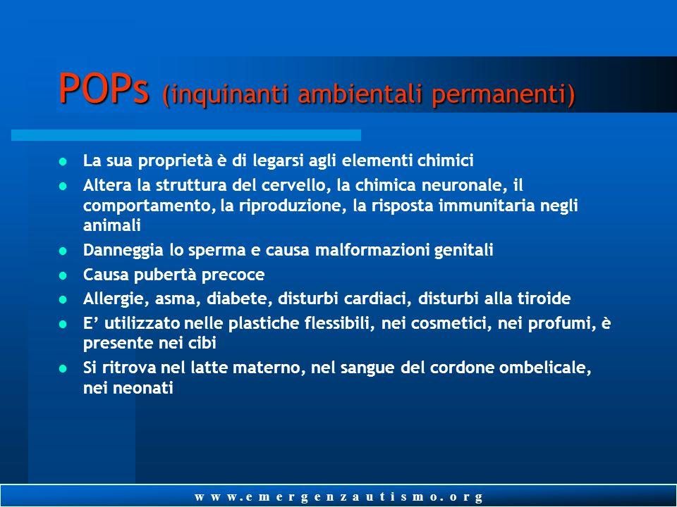 w w w. e m e r g e n z a u t i s m o. o r g POPs (inquinanti ambientali permanenti) FTALATI, PESTICIDI, ERBICIDI, BISPHENOL A, PCB, PCBD, DDT Difficol