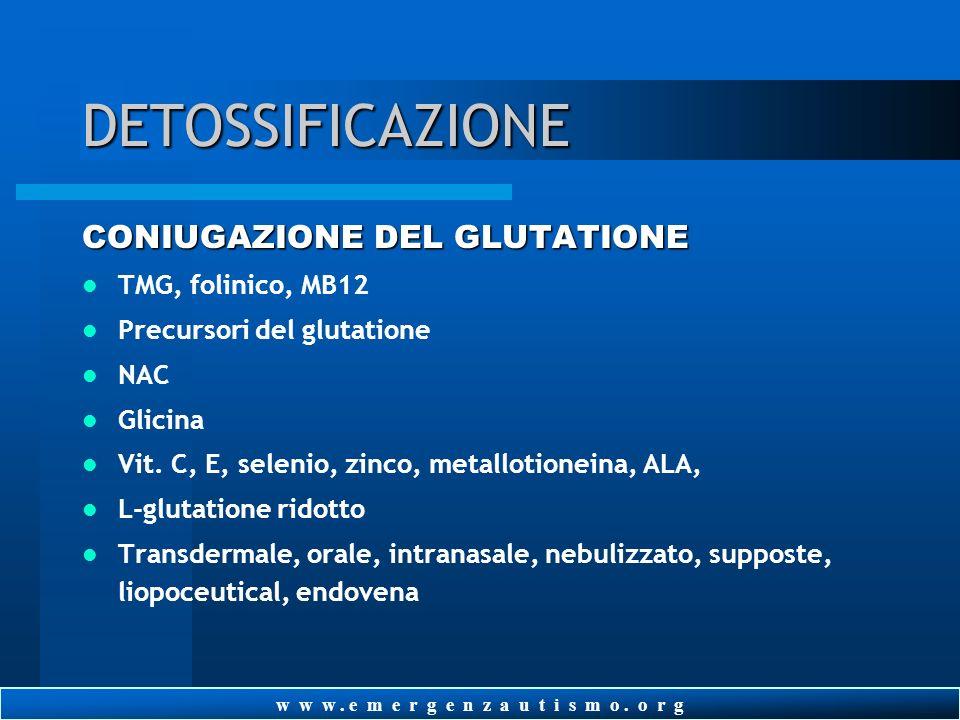 w w w. e m e r g e n z a u t i s m o. o r g DETOSSIFICAZIONE SULFATAZIONE Magnesio solfato (Epsom salt) Molibdeno, biotina Vit. B1, allitiamina TTFD V