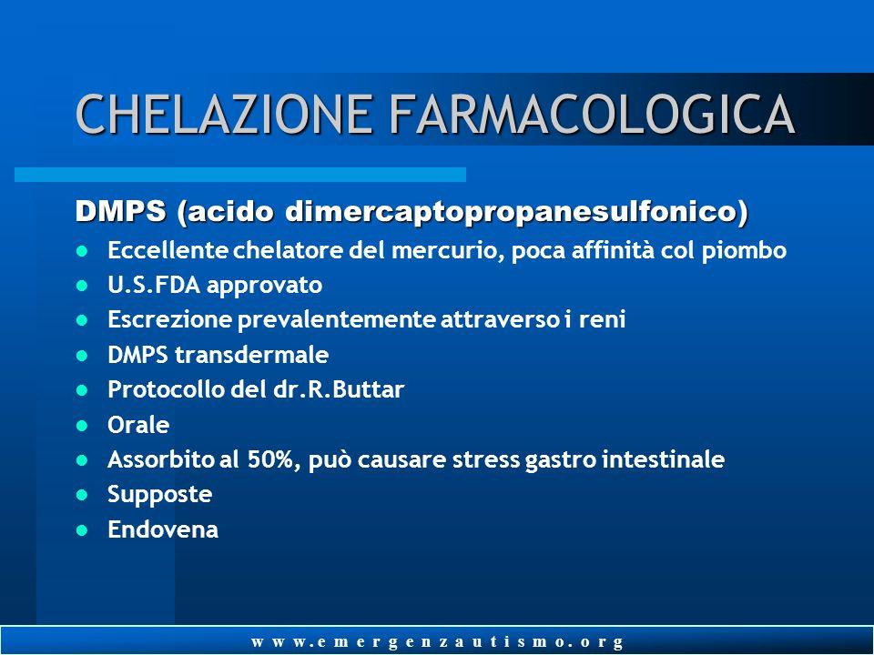 w w w. e m e r g e n z a u t i s m o. o r g CHELAZIONE FARMACOLOGICA EDTA (acido etilenediaminetetraacetico) Preparazioni Orale Transdermale Endovena