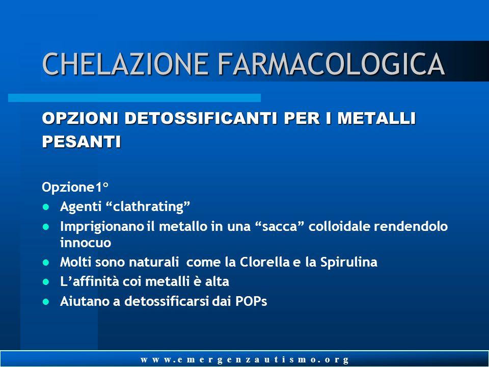w w w. e m e r g e n z a u t i s m o. o r g CHELAZIONE FARMACOLOGICA DMPS (acido dimercaptopropanesulfonico) Eccellente chelatore del mercurio, poca a
