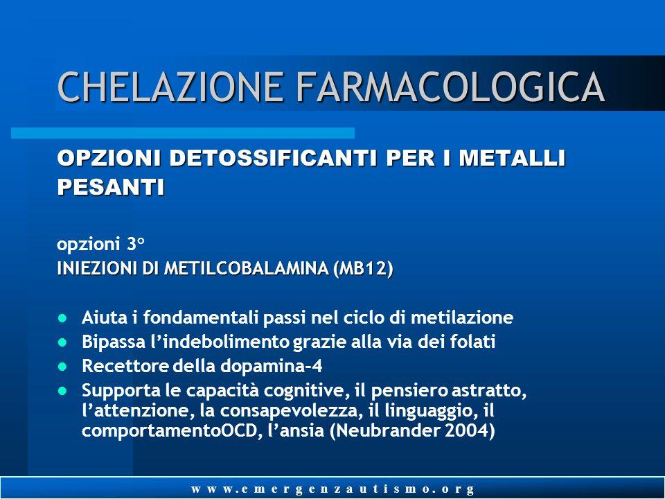 w w w. e m e r g e n z a u t i s m o. o r g CHELAZIONE FARMACOLOGICA OPZIONI DETOSSIFICANTI PER I METALLI PESANTI opzioni 2° TTFD/allitiamina (tiamina
