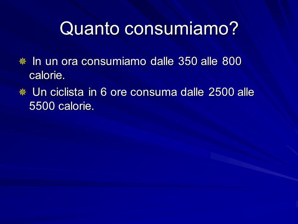 Quanto consumiamo? In un ora consumiamo dalle 350 alle 800 calorie. In un ora consumiamo dalle 350 alle 800 calorie. Un ciclista in 6 ore consuma dall