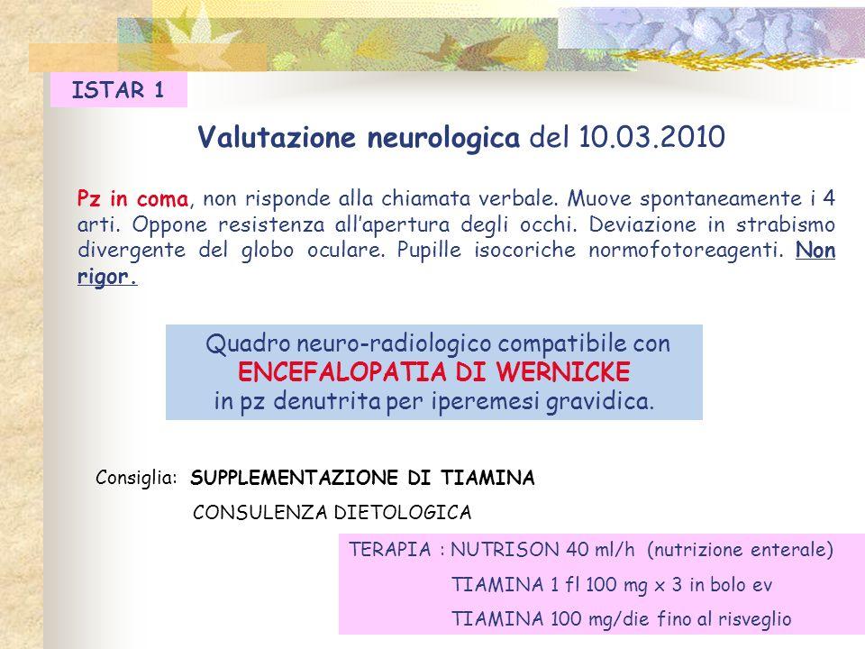 Valutazione neurologica del 10.03.2010 Pz in coma, non risponde alla chiamata verbale. Muove spontaneamente i 4 arti. Oppone resistenza allapertura de