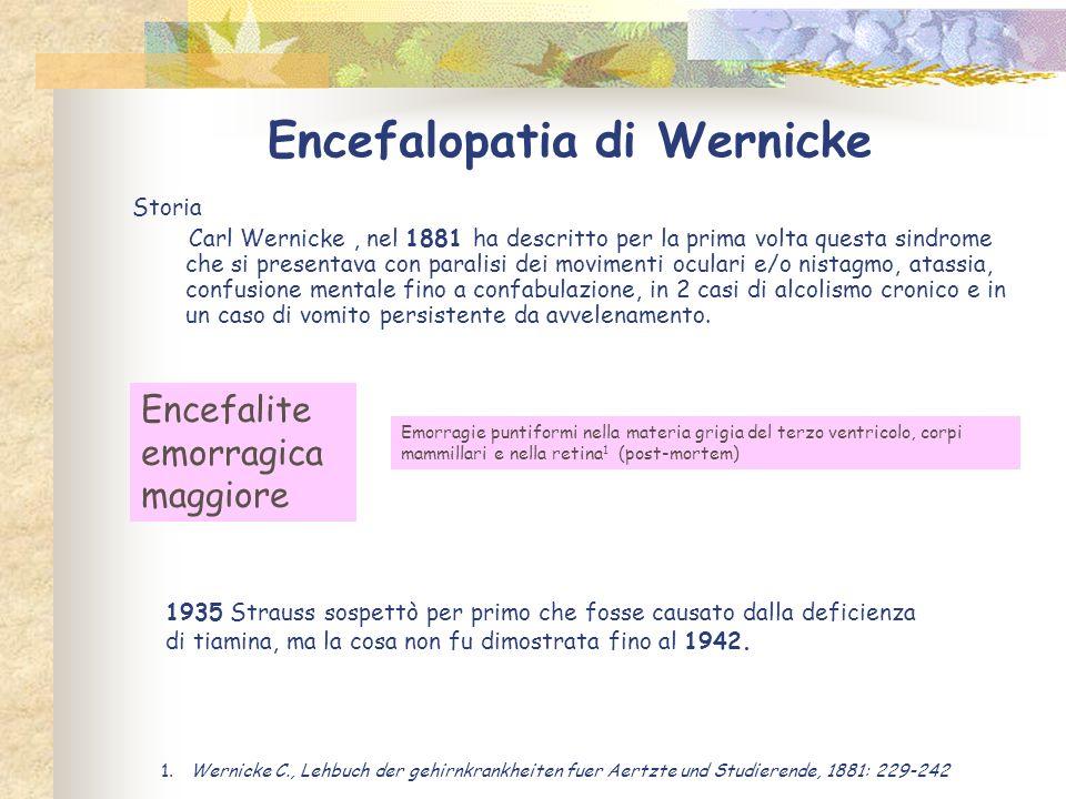 Encefalopatia di Wernicke Storia Carl Wernicke, nel 1881 ha descritto per la prima volta questa sindrome che si presentava con paralisi dei movimenti