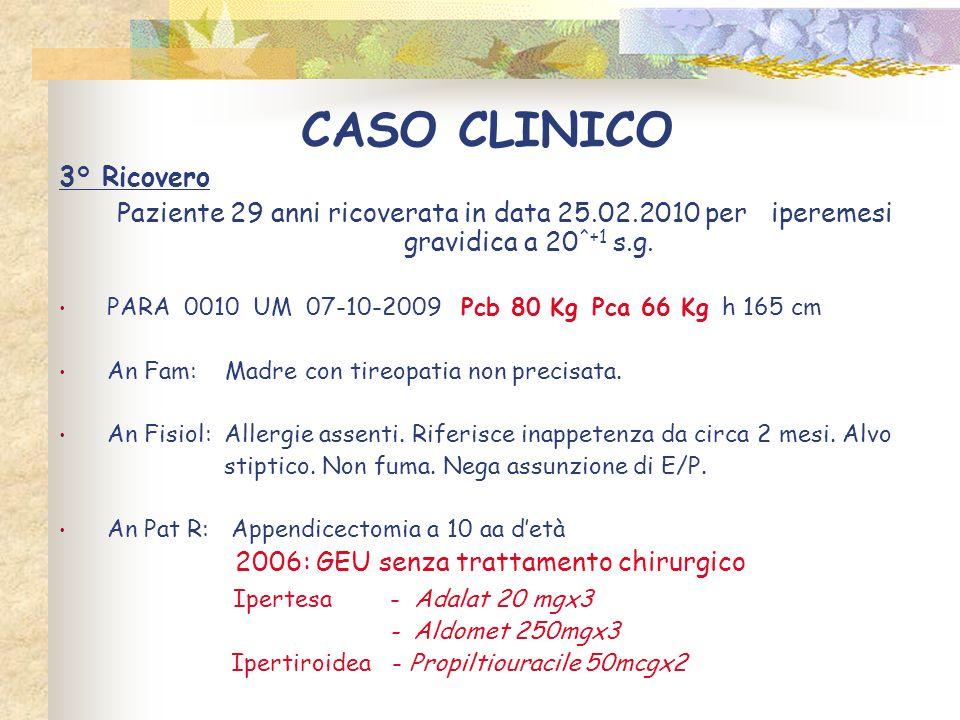 CASO CLINICO 3° Ricovero Paziente 29 anni ricoverata in data 25.02.2010 per iperemesi gravidica a 20 ^+1 s.g. PARA 0010 UM 07-10-2009 Pcb 80 Kg Pca 66