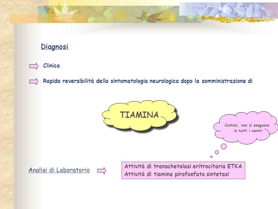 Diagnosi Clinica Rapida reversibilità della sintomatologia neurologica dopo la somministrazione di TIAMINA Analisi di Laboratorio Attività di transchetolasi eritrocitaria ETKA Attività di tiamina pirofosfato sintetasi Costosi, non si eseguono in tutti i centri