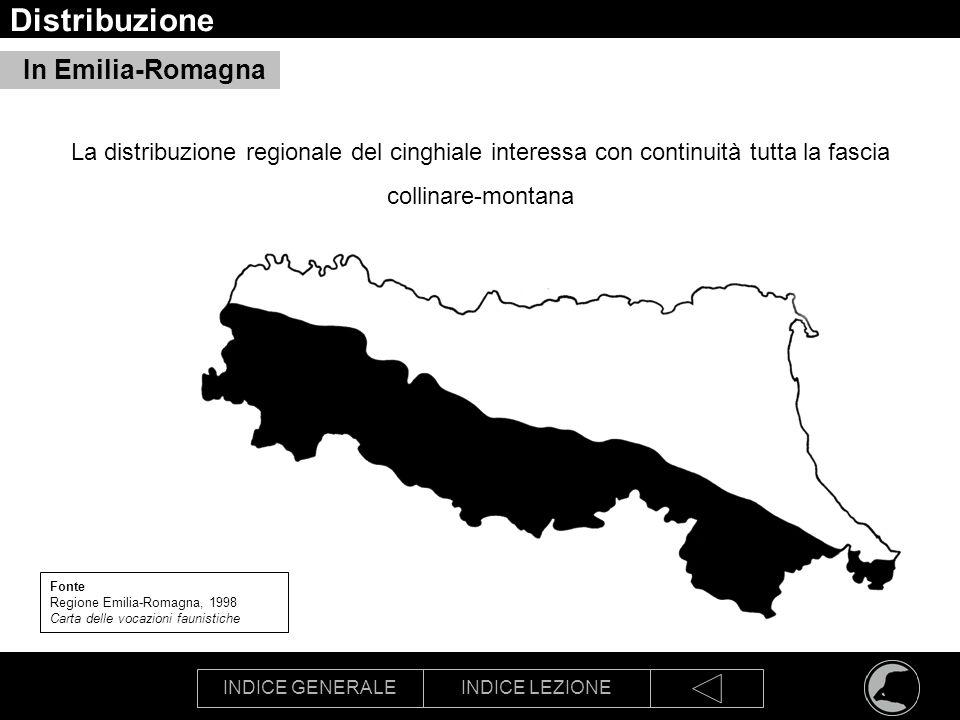INDICE GENERALEINDICE LEZIONE Distribuzione In Emilia-Romagna Fonte Regione Emilia-Romagna, 1998 Carta delle vocazioni faunistiche La distribuzione re