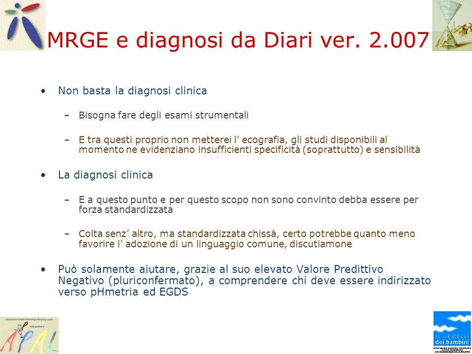 MRGE e diagnosi da Diari ver. 2.007 Non basta la diagnosi clinica –Bisogna fare degli esami strumentali –E tra questi proprio non metterei l ecografia