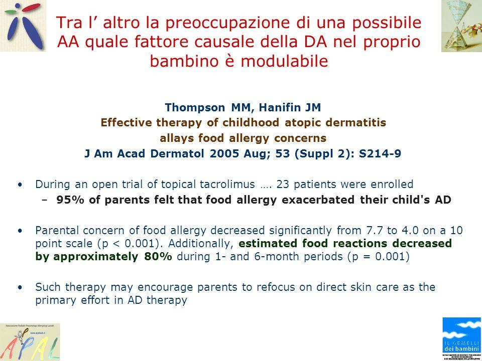 Tra l altro la preoccupazione di una possibile AA quale fattore causale della DA nel proprio bambino è modulabile Thompson MM, Hanifin JM Effective th
