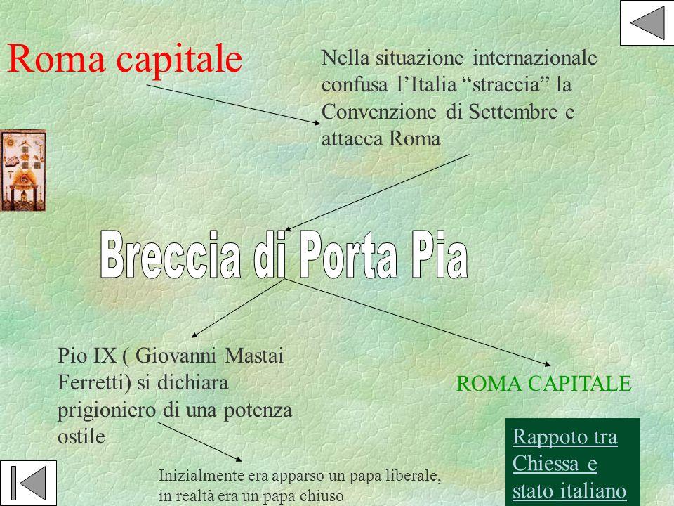 Roma capitale Nella situazione internazionale confusa lItalia straccia la Convenzione di Settembre e attacca Roma ROMA CAPITALE Pio IX ( Giovanni Mast
