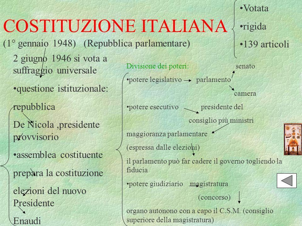 COSTITUZIONE ITALIANA (1° gennaio 1948)(Repubblica parlamentare) Votata rigida 139 articoli 2 giugno 1946 si vota a suffraggio universale questione is