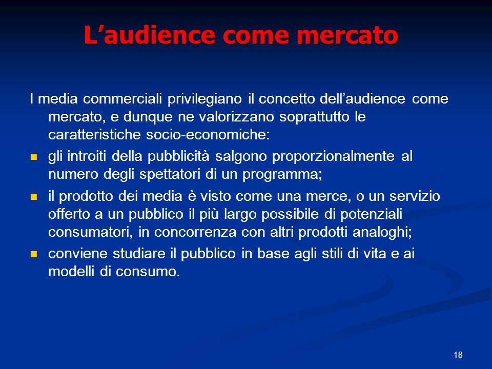 18 Laudience come mercato I media commerciali privilegiano il concetto dellaudience come mercato, e dunque ne valorizzano soprattutto le caratteristic
