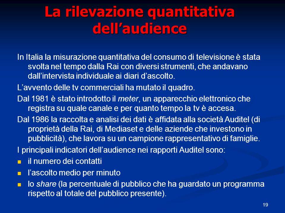 19 La rilevazione quantitativa dellaudience In Italia la misurazione quantitativa del consumo di televisione è stata svolta nel tempo dalla Rai con di