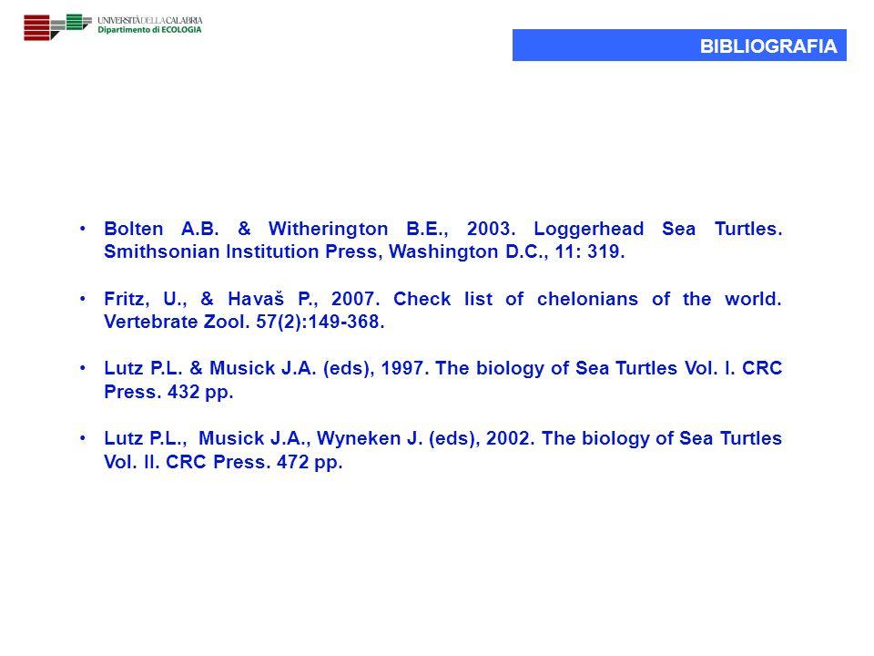 BIBLIOGRAFIA Bolten A.B. & Witherington B.E., 2003. Loggerhead Sea Turtles. Smithsonian Institution Press, Washington D.C., 11: 319. Fritz, U., & Hava