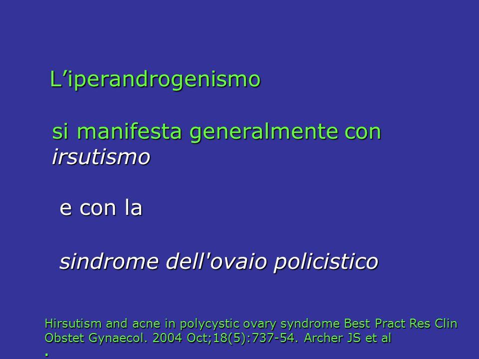 Liperandrogenismo Liperandrogenismo si manifesta generalmente con si manifesta generalmente con irsutismo irsutismo e con la e con la sindrome dell'ov