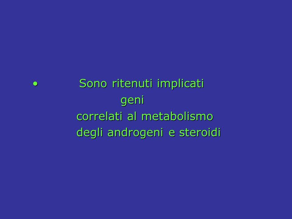 Sono ritenuti implicati Sono ritenuti implicati geni geni correlati al metabolismo correlati al metabolismo degli androgeni e steroidi degli androgeni