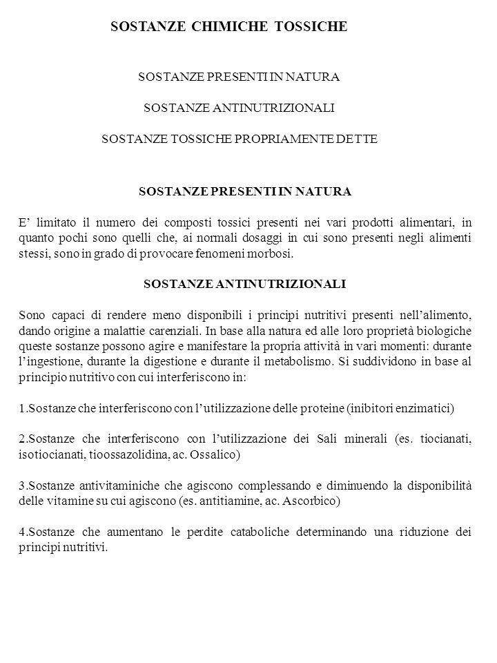 SOSTANZE CHIMICHE TOSSICHE SOSTANZE PRESENTI IN NATURA SOSTANZE ANTINUTRIZIONALI SOSTANZE TOSSICHE PROPRIAMENTE DETTE SOSTANZE PRESENTI IN NATURA E li