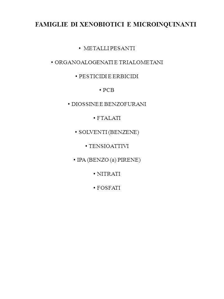 FAMIGLIE DI XENOBIOTICI E MICROINQUINANTI METALLI PESANTI ORGANOALOGENATI E TRIALOMETANI PESTICIDI E ERBICIDI PCB DIOSSINE E BENZOFURANI FTALATI SOLVENTI (BENZENE) TENSIOATTIVI IPA (BENZO (a) PIRENE) NITRATI FOSFATI