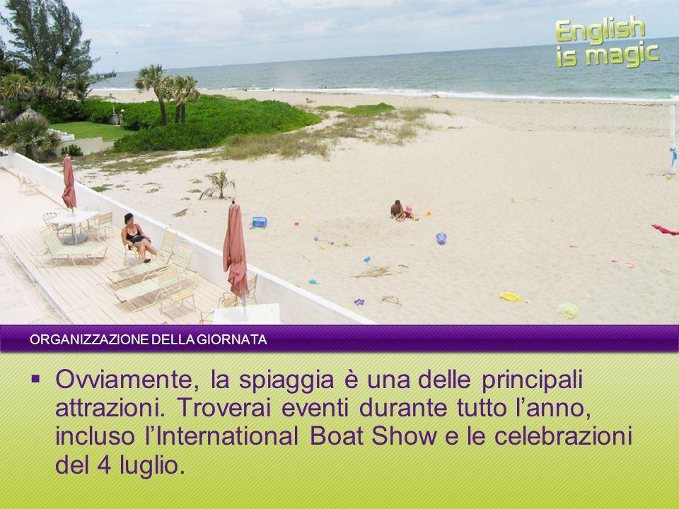ORGANIZZAZIONE DELLA GIORNATA Ovviamente, la spiaggia è una delle principali attrazioni. Troverai eventi durante tutto lanno, incluso lInternational B