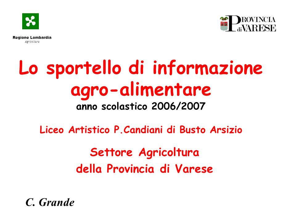 Lo sportello di informazione agro-alimentare anno scolastico 2006/2007 Liceo Artistico P.Candiani di Busto Arsizio Settore Agricoltura della Provincia di Varese C.