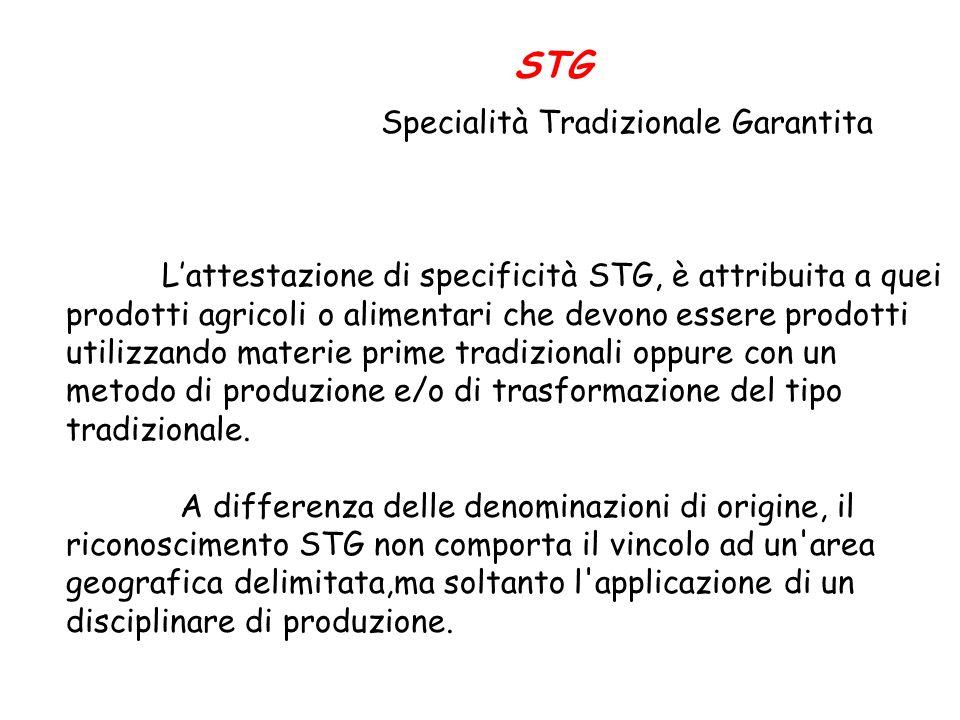 STG Specialità Tradizionale Garantita Lattestazione di specificità STG, è attribuita a quei prodotti agricoli o alimentari che devono essere prodotti utilizzando materie prime tradizionali oppure con un metodo di produzione e/o di trasformazione del tipo tradizionale.