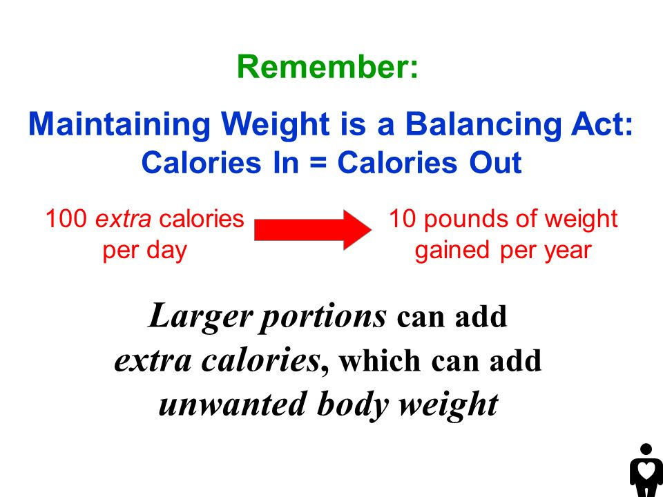 Larger portions can add extra calories, which can add unwanted body weight Remember: Maintaining Weight is a Balancing Act: Calories In = Calories Out 100 extra calories per day 10 pounds of weight gained per year