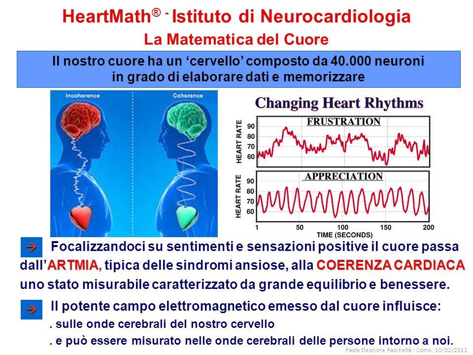 HeartMath ® - Istituto di Neurocardiologia La Matematica del Cuore Il potente campo elettromagnetico emesso dal cuore influisce:.