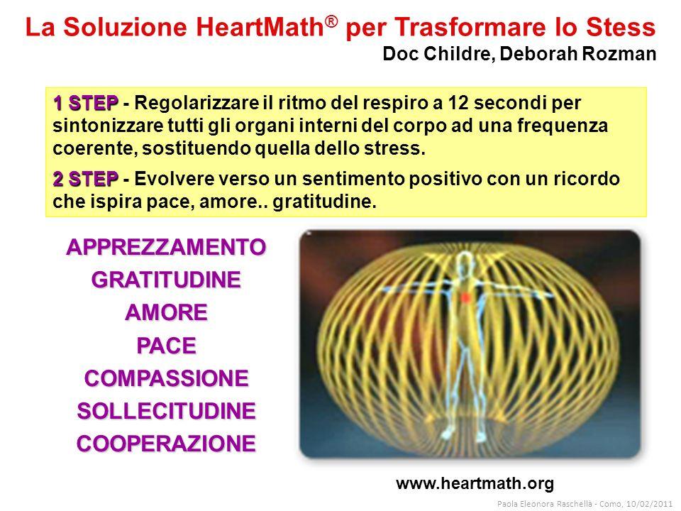 www.heartmath.org 1 STEP 1 STEP - Regolarizzare il ritmo del respiro a 12 secondi per sintonizzare tutti gli organi interni del corpo ad una frequenza coerente, sostituendo quella dello stress.