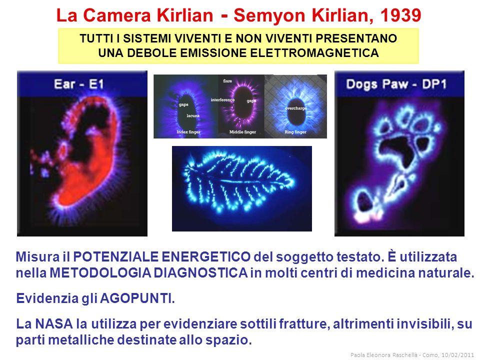 La Camera Kirlian - Semyon Kirlian, 1939 Misura il POTENZIALE ENERGETICO del soggetto testato.