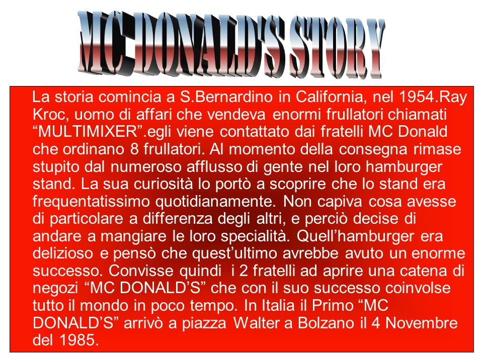 MC DONALDS STORY