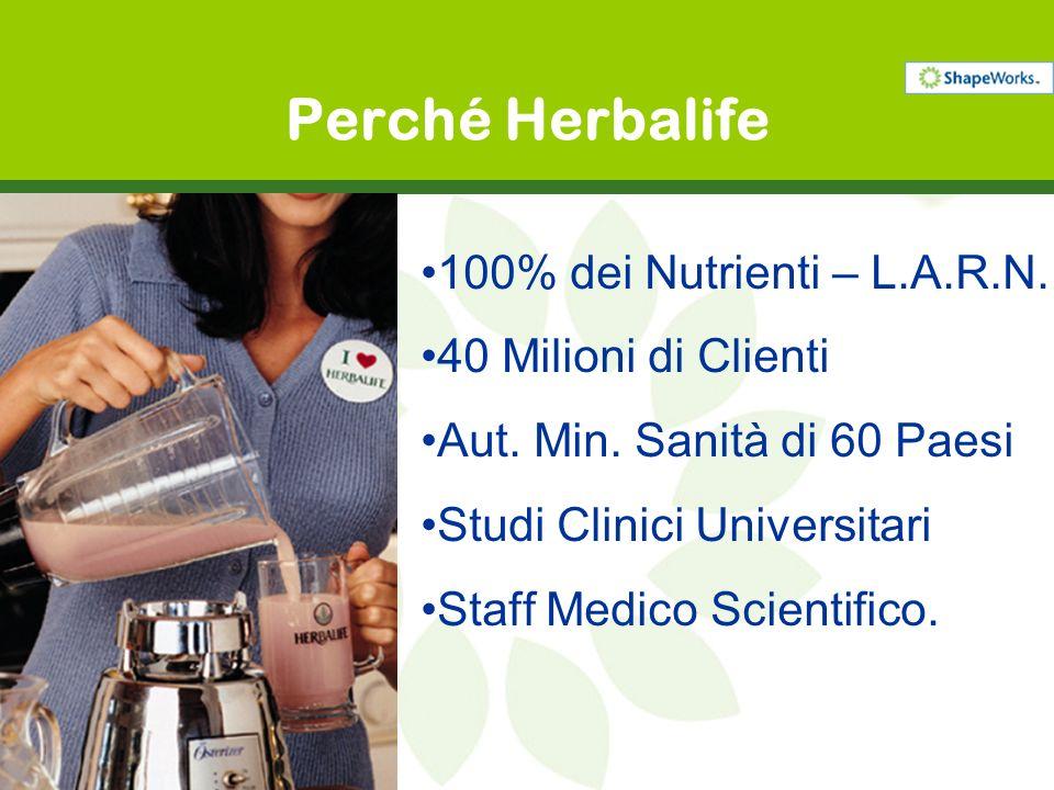 100% dei Nutrienti – L.A.R.N. 40 Milioni di Clienti Aut. Min. Sanità di 60 Paesi Studi Clinici Universitari Staff Medico Scientifico. Perché Herbalife