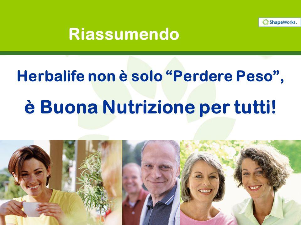 Riassumendo Herbalife non è solo Perdere Peso, è Buona Nutrizione per tutti!