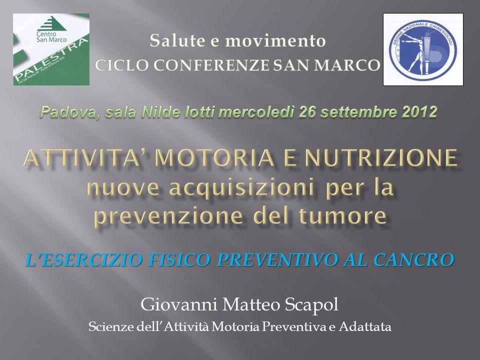LESERCIZIO FISICO PREVENTIVO AL CANCRO Giovanni Matteo Scapol Scienze dellAttività Motoria Preventiva e Adattata