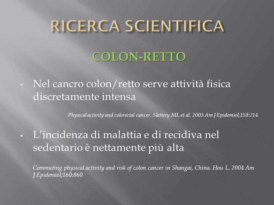 COLON-RETTO Nel cancro colon/retto serve attività fisica discretamente intensa Physical activity and colorectal cancer. Slattery ML et al. 2003 Am J E