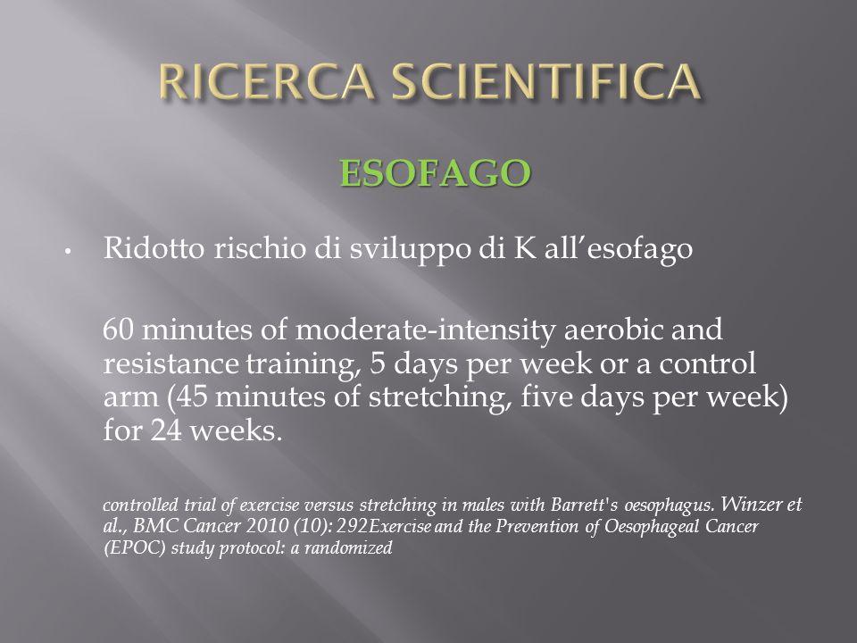 ESOFAGO Ridotto rischio di sviluppo di K allesofago 60 minutes of moderate-intensity aerobic and resistance training, 5 days per week or a control arm