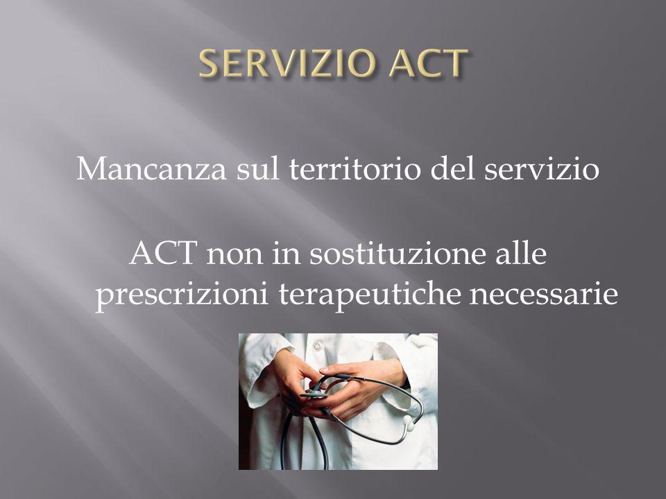 Mancanza sul territorio del servizio ACT non in sostituzione alle prescrizioni terapeutiche necessarie