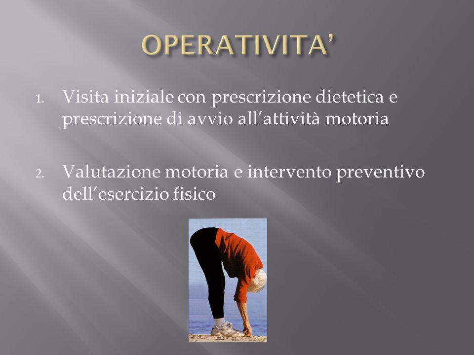 1. Visita iniziale con prescrizione dietetica e prescrizione di avvio allattività motoria 2. Valutazione motoria e intervento preventivo dellesercizio