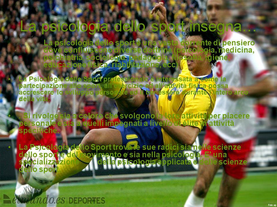 La psicologia dello sport insegna… La psicologia dello sport è una vasta corrente di pensiero dove confluiscono diverse dottrine (psicologia, medicina
